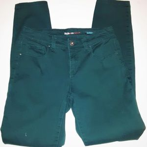 Style & Co. Green Teal Skinny Jeans Slim Fit 4